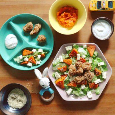 Csirkenuggets Sütőtök Salátával
