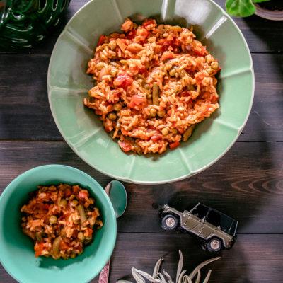 Paradicsomos-zöldséges paella